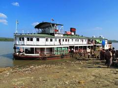 Irrawaddy Cargo Boat Berthed (Allan Rickmann) Tags: food cooking river boat village lift market burma transport gang cargo myanmar vendor passenger load plank irrawaddy berth ayeyarwady