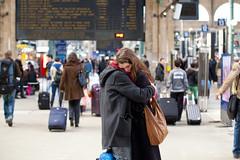 Goodbye (Monsieur Etienne) Tags: boy portrait woman man paris love girl station train canon bag 50mm hug kiss couple sweet f14 candid lovers lover garedunord 5dmarkii