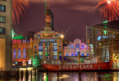 Power Plant Holiday Light Show (Terry Aldhizer) Tags: show christmas new light holiday plant water night harbor boat us power fireworks year maryland baltimore inner terry laser chesapeake hdr 2012 aldhizer terryaldhizercom