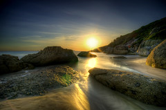 Squeaky Beach Sunset (matt haysom) Tags: longexposure sunset sea sky sunlight seascape beach nature water coast twilight sand nikon rocks dusk australia victoria shore sigma1020mm wilsonspromontory nd400 squeakybeach d7000