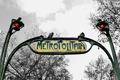 Metropolitain signs with pigeons (Pampara  back!!) Tags: paris france sign niceshot metro pigeon mtro metropolitain metropolitana parigi hectorguimard