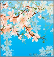 vector blossoming tree brunch in the garden on the blue sky background (Julia Cherkinski) Tags: new pink blue summer sky plant abstract flower color tree green art love apple nature floral beautiful beauty japan illustration garden paper season cherry landscape demo japanese design leaf spring day branch pattern graphic natural blossom drawing decorative background chinese decoration peach plum style clip petal bloom valentines apricot backdrop oriental vector element shutterstock flowersheart