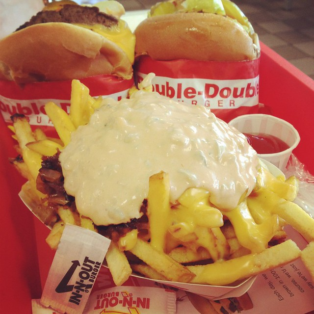 in-n-out animal style fries & double doubles