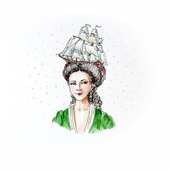 Lutine (k.dmitrijewa) Tags: green female illustration century ship dress head drawing sail 18 frigate hairstyle lutine pennyjey