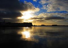 Sunny Sunday (flips99) Tags: houses sunset sea sky sunlight reflection water norway clouds buildings coast boat harbour silhouettes havn bt vann skyer solnedgang sj kyst karmy siluett speiling krehamn ginordicjan12