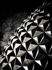 The Spaceship in the Sky (Kiki FL) Tags: light shadow abstract monochrome architecture orlando epcot florida olympus architectural dome wdw waltdisneyworld zuiko themepark e5 spaceshipearth futureworld sse zd