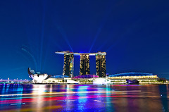 Marina Bay Sands - LED Light show (Wang Guowen (gw.wang)) Tags: lighting longexposure reflection nikon singapore cityscape nightshot firework countdown 2012 greatphotographers singaporeflyer marinabaysands d7000 tokinaaf1116mmf28 tokinaatx116f28 flickrunitedaward artsciencemuseum blinkagain gwwang wwwon9cloudcom