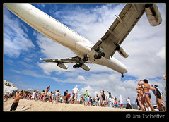 The Madness at Maho....(#2 on Explore) (IC360) Tags: beach airplane landing explore sunsetbeach caribbean stmaarten runway a340 airfrance mahobeach explored airportbeach princessjulianaairport ic360images jimtschetter