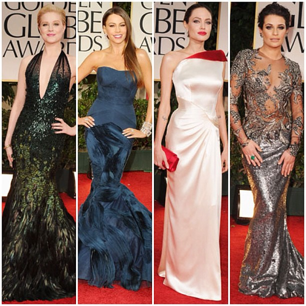 My top 4 looks from The Golden Globes 2012 Redcarpet.Evan Rachel Wood in Gucci, Sofia Vergara in Vera Wang, Angelina in Artelier Versace & Leah Michelle in Marchesa. #fashion #redcarpet #loves