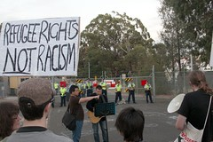 'Refugee rights not racism' placard - Refugee ...