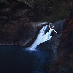Water (Re-edited) (Brad.Wagner) Tags: blue water pool flow waterfall rocks stream dress alyssa spirit basin mermaid pitcher pour siren edit