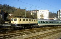 141 407  Tübingen Hbf  18.02.98 (w. + h. brutzer) Tags: analog train germany deutschland nikon eisenbahn railway zug trains db locomotive 141 tübingen lokomotive elok e41 eisenbahnen eloks webru