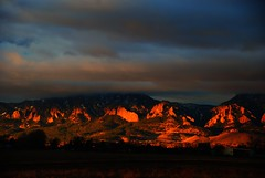 The Flatirons in the morning (Let Ideas Compete) Tags: morning mountains clouds sunrise early colorado day cloudy earlymorning boulder co essence lowclouds flatirons baseline bearpeak baselineroad mountainbackground mountainbackdrop mountainsbehind