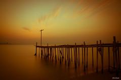 Spaceship Earth (heshaaam) Tags: sunset red sea bahrain warm long exposure jetty manama muharraq