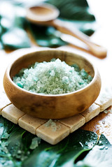bath minerals (L5 Solutions) Tags: stilllife beauty wooden bath natural centre radiance salt spoon bowl health minerals relaxation cosmetics leafs pure spa luxury hygiene freshness wellness treatment purity bathsalt bodycare pampering healthspa spaproduct bathminerals
