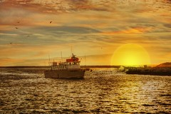 A day's fishing, over (Sunset Sailor) Tags: ocean sunset sea harbor boat fishing marine vessel atlantic maritime nautical