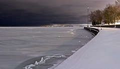 After the Storm (J and J and M and M) Tags: nightphotography snow chicago afterthestorm powder frozenlake freshsnow hss chicagolakefrontpath