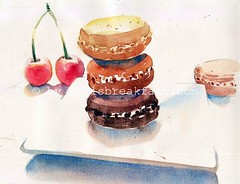 Three Macarons watercolor (Paris Breakfast) Tags: watercolor macarons