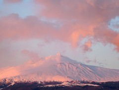 Mount Etna with the pink clouds (Luigi Strano) Tags: italy snow mountains montagne europa europe italia neve sicily etna sicilia