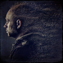 "5_29 ""Words"" (dracorubio) Tags: blue portrait man texture me face self dark words personal muse fallingapart disintegrate"
