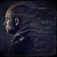 "5_29 ""Words"" (dracorubio) Tags: blue portrait man texture me face self dark words personal muse fallingapart disintegrate"