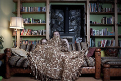 216.365 Oh mon cher (Valette) Tags: couple steve livingroom couch blanket bookshelves newlyweds day216 valette 365days ayearofmarriage