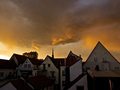 Clouds at Sunset (Espen Vestre) Tags: sunset clouds germany rooftops speyer explored