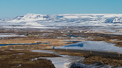 Driving trip through Myvatn, Iceland (Goldsaint) Tags: road trip travel mountain snow ice nature landscape town is iceland scenery europe village view outdoor journey northeast myvatn geological suberb eography