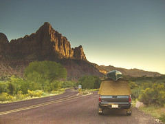 two drifters (Jo-H) Tags: road trees sunset summer truck utah rocks warm canoe hills zion