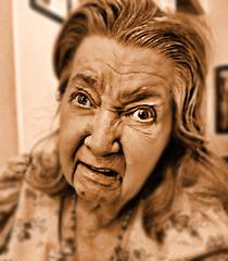 Alzheimer's Disease (chazart7777) Tags: sepia anger rage oldwoman sep alzheimers sepiatone