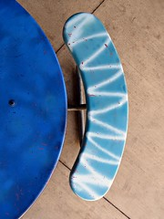 Semi-Circular Cross Section of Time-Resolved Unsteadiness (Isabelle de Touchet) Tags: blue abstract lines composition canon bench table geometry minimalism simple less zigzag semicircular powershotsx50 isabelledetouchet