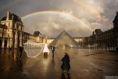Louvre Rainbow Paris (Bryan Maltais) Tags: wedding paris france weather landscape rainbow nikon louvre d800