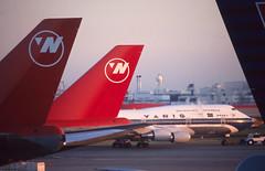 Tokyo 747's (Longreach - Jonathan McDonnell) Tags: tokyo northwest scan 747 narita northwestairlines varig tokio 747200 747300 scanfromaslide rjaa 747341 ppvoc