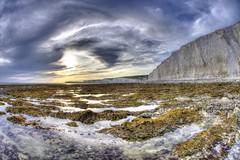 Forgiving you was easy (pauldunn52) Tags: sun seaweed beach clouds sisters sussex chalk gap cliffs seven birling