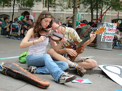 Music, always the music... (luisger) Tags: manhattan nypd wallst occuppywallstreet