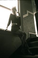 (C>M>Photography) Tags: camera light portrait woman white black max film stockings female stairs analog way photography women san francisco stair minolta kodak contemporary sensual iso charlie desire photograph 400 himatic af2 ultra mirador leggings