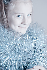 Christmas Session (Courtney Lynn Robertson) Tags: snowflake christmas portrait holiday snow cold girl beautiful portraits silver children pretty child dress princess snowy seasonal boa ornament tinsel session icy iceprincess christmasportrait snowprincess coldtone