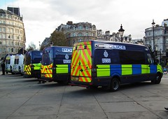 Warwickshire & Essex Police Sprinters (kenjonbro) Tags: uk blue london march pov protest trafalgarsquare demonstration mercedesbenz sprinter drafted pensions essexpolice kenjonbro warwickshirepolice fujihs10 bx10lua bx60nsu bx11ugh