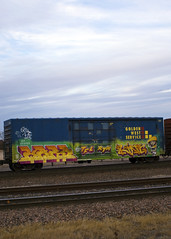 KRES - KING157 (Electric Funeral) Tags: railroad art train graffiti midwest paint railway railcar traincar omaha graff freight goldenwest freighttrain tfl king157 councilbluffs rtm kres benched benching freighttraingraffiti