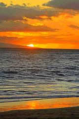sunset (bluewavechris) Tags: ocean sunset sea sky sun color beach water clouds island hawaii sand scenic maui