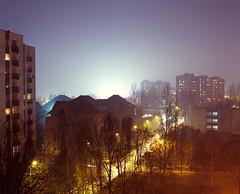 View from my parents' livingroom. (wojszyca) Tags: city longexposure urban mamiya night mediumformat fuji velvia epson 100 6x7 fujichrome katowice towerblock hoya rz67 4990 rvp100 110mm 80b paderewa