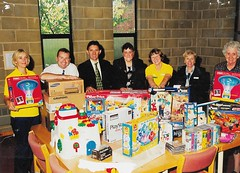 Presentation of toys from Chamberlain Hills, Walsall Manor 1999 (Voices Through Corridors) Tags: presentation manor 1990s paediatrics