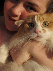 i gotcha! (Emwilson_photography) Tags: camera summer orange brown sun white green art love nature animal swimming cat canon hair nose person eyes holding hands hand kitty greeneyes sunburn freckles scared browneyes cateyes portriat