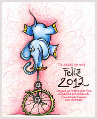 FELIZ 2012 (Choicita) Tags: chile bicicleta bici dibujo ilustracion 2012 aonuevo elefante felizao javieradonoso