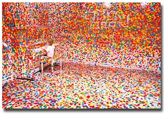 Yayoi Kusamas The obliteration room (Stuart Addelsee) Tags: blue red white color green yellow canon eos toddler gallery child room small piano goma australia spot brisbane polka spots 7d qld queensland dots yayoi kusama yayoikusama galleryofmodernart 2011 obliteration stupie theobliterationroom obliterationroom