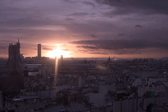 Sunset in Paris (A FUTURE FOTO) Tags: city trip travel blue sunset vacation sky white holiday black paris france church yellow clouds 35mm grey nikon warm europe view purple centre montparnasse pompidou iledefrance semester d80