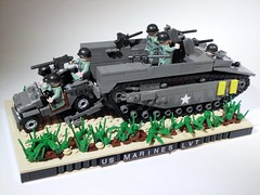 US MARINES LVT-4 (Project Azazel) Tags: beach japan usmc america google tank lego jeep amtrak american ww2 ba cod mb hbo marinecorps iwojima allies wwll callofduty thepacific usmarines allied semperfidelis lvt worldatwar willysjeep alwaysfaithful brickarms willysmbjeep lvt4 landingvehicletank