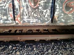 WOW! (QsySue) Tags: railroad train wow graffiti tag traintracks traincar cellphonepic railroadtracks cellphonecamera railroadcar inlandempire sanbernardinocounty lotuslgcellphone