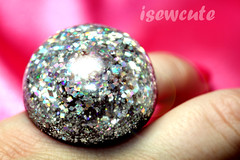 disco dome ring handmade resin glam by isewcute (isewcute) Tags: ohio usa fashion glitter modern silver disco big handmade ring sparkle lolita dome kawaii statement glam bling simple bauble crafting bold 2012 accessory conversationpiece highfashion treaure harajukustyle handcastresin isewcute craftingincolor makeresinjewelry