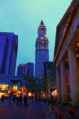 Quincy Market (Gary Burke.) Tags: city blue light usa boston shop night america canon shopping ma eos rebel lights evening us store streetlamp massachusetts newengland clocktower bluehour shoppingcenter dslr stores quincymarket faneuilhall customhousetower downtownboston faneuilhallmarketplace garyburke klingon65 t1i canoneosrebelt1i